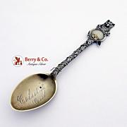 Gold Pan Pick Shovel Bear Chain Souvenir Spoon Sterling Silver Mayer 1910