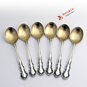 Set Of 6 Old Atlanta Irving Chocolate Spoons Sterling Silver Wallace 1899