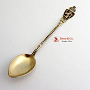 Norway Souvenir Demitasse Spoon Gold Plated Sterling Silver Enamel Aksel Holmsen 1940