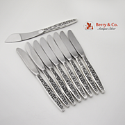 Set Of 9 Meadow Song Master And Individual Butter Knives Sterling Silver Stainless Steel Towle 1967