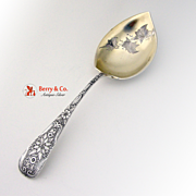Aesthetic Floral Stem Serving Spoon Sterling Silver 1890