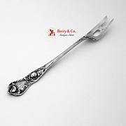 Floral Leaf Pierced Olive Fork Sterling Silver 1900