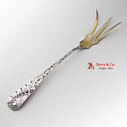 Floral Scroll Lettuce Serving Fork Sterling Silver 1900