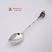 Old Japanese Figural Rickshaw Coffee Spoon 900 Silver 1920
