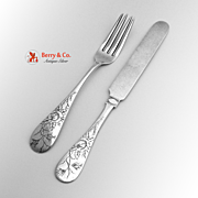 Engraved Floral Youth Fork And Knife Sterling Silver 1880