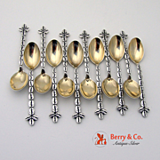 Unique Set Of 12 Figural Coffee Bean Coffee Spoons Sterling Silver Shreve Co 1920