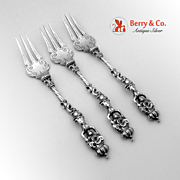 Set Of 3 Georgian Ornate Figural Naked Woman Large Three Tine Forks Sterling Silver 19th Century