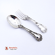 Chantilly Baby Spoon Fork Set Sterling Silver Gorham 1895