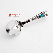 Navajo Baby Spoon Sterling Silver Imitation Turquoise