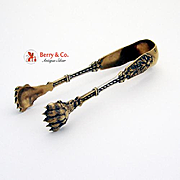 Sterling Silver Lion Paw Sugar Tongs Gold Wash French