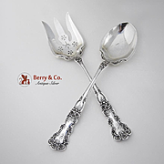 Buttercup Long Handle Salad Serving Set Sterling Silver Gorham 1899