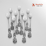 Set Of 9 Francis I Old Mark Cocktail Forks Sterling Silver Reed And Barton 1907.