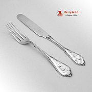 Cottage Youth Fork And Knife Set Coin Silver San Francisco 1867