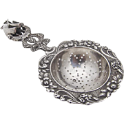 Figural Ship Handled Tea Strainer Dutch Second Standard Silver 1910