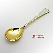 Norwegian Sterling Silver Spoon Gilt White Enamel