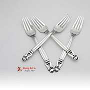 Georg Jensen Acorn Set Of 4 Dinner Forks Sterling Silver 1915