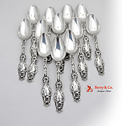 Set Of 12 Lily Place Soup Spoons Sterling Silver Whiting 1902