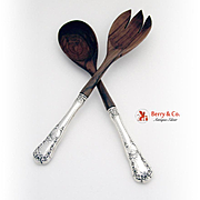 Buttercup Salad Serving Set Sterling Silver Olive Wood Gorham