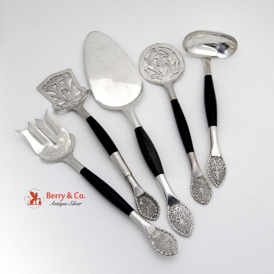 Unique Hand Made Five Piece Serving Set Sterling Silver