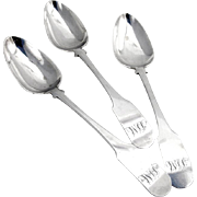Set of 3 Fiddle Table Spoons Coin Silver Lewis Smith 1805-1810