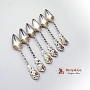 Set Of 6 Twist Handle Citrus Spoons Sterling Silver Enamel 1890