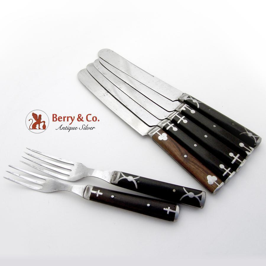 Antique misc cutlery set knives forks polished steel wood 7 pieces from berrycom com flatware on - Knives and forks sets ...