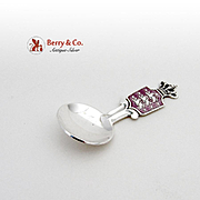 Danish Salt Spoon Sterling Silver Enamel 1940