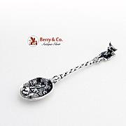 Figural Bull Salt Spoon Spanish 916 Standard Silver 1870