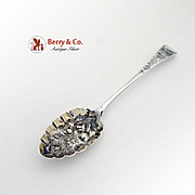 Georgian Ornate Repousse Berry Spoon Sterling Silver Peter Ann Bateman 1798
