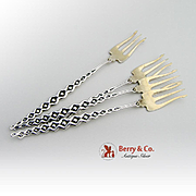 Aesthetic Cocktail Forks Sterling Silver 4 Pieces Whiting 1880