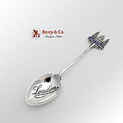 St Pauls Cathedral Souvenir Demitasse Spoon Sterling Silver Enamel Henry Williamson 1906