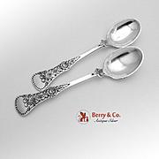 Flat Rose Egg Spoons 830 Standard Silver Pair Magnus Aase 1930