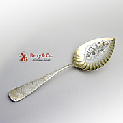 Unusual Ribbed Serving Spoon Sterling Silver 1890