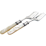 Antique Fish Forks Sterling Silver Mother Of Pearl Pair 1890