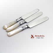 Dessert Knives Sterling Silver Mother Of Pearl 3 Pieces Various Makers 1900