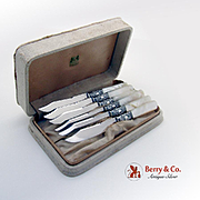 Dazzling Fruit Knife Set Sterling Silver Mother Of Pearl Silver Plate American Cutlery Co 1900