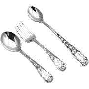 Old Maryland Engraved Baby Flatware Set Feeding Spoon Sterling Silver S Kirk Son 1936