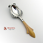 Ornate Carved Scroll Cafe Royale Spoon Sterling Silver Mauser 1900