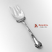 Poppy Large Cold Meat Serving Fork Sterling Silver Gorham 1902