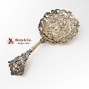 Renaissance Revival Large Candy Nut Spoon Cast Gilt Sterling Silver Gorham 1896