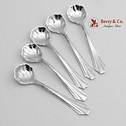 Coffin Shell Individual Salt Spoons Sterling Silver 5 Pieces Webster 1940