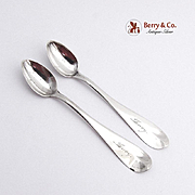 Fiddle Tipt Miniature Spoons Coin Silver Pair Henry C Foster 1860