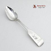 Fiddle Dessert Spoon Coin Silver Issac Speer 1845