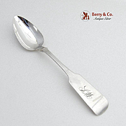 Fiddle Dessert Spoon Coin Silver Issac Speer 1845