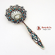 Ornate Openwork Enamel Large Bon Bon Spoon Gilt Sterling Silver Gorham 1895