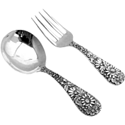Repousse Baby Flatware Set Sterling Silver 2 Pieces S Kirk Son 1896