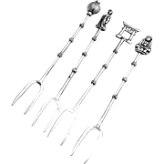 Figural Bamboo Cocktail Forks Japanese 950 Sterling Silver 4 Pieces 1960