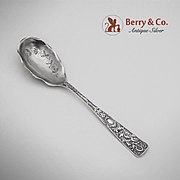 Fancy Scroll Bird Dessert Spoon Sterling Silver JB SM Knowles 1870