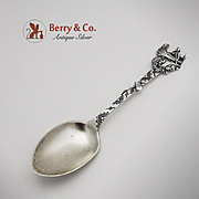 Indian Canoe Souvenir Spoon Sterling Silver Lunt 1910