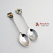 Flower Demitasse Spoons Sterling Silver Enamel Pair Turner Simpson 1957